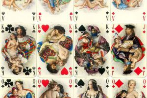 Le-Florentin-luxury-playing-cards-with-miniature-paintings-by-Paul-mile-Bcat-published-by-ditions-Philibert-Paris-1956